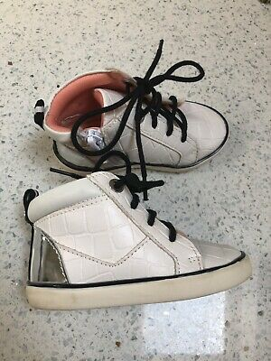 kids, little girls white lace up boots trainers - River Island - size 4