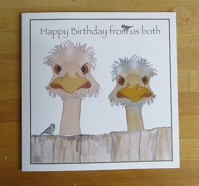 Birthday Card Fun 2 Ostriches Birds From the both of us Can Personalise