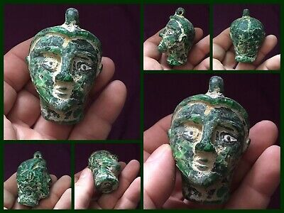 Very rare ancient Face Head Phoenician Heavy Green glass Head Offering c300/500