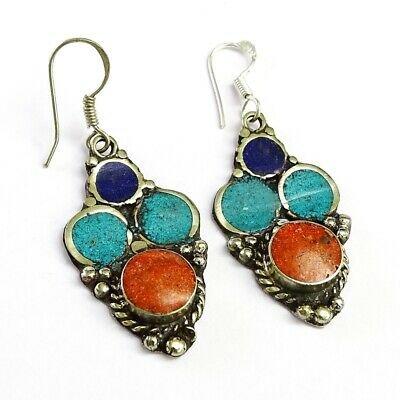 Nepali Turquoise, Coral, Lapis Gemstone Silver Plated Earring  1.5 To 3.5'' SC4