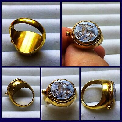 RARE ANCIENT SOLID GOLD ROMAN RING c 1st /3rd Cent AD. With Agate intaglio