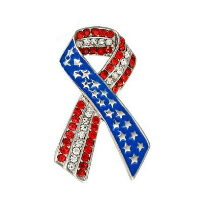 "2 Great Pins - Make America Great Again Pin & 2"" Rhinestone USA Ribbon Flag Pin"