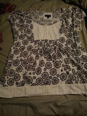Sonoma Baby Doll Top XL Brown/Cream