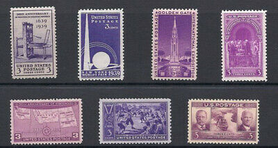 US STAMP 1939 Complete Commemorative Year Set-w/ 885 Baseball, 7PC MINT NH