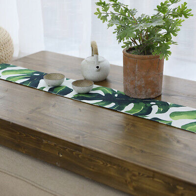 Cotton Linen Cloth Leaf Print Table Runner for Wedding Home Party Decor 10x125cm
