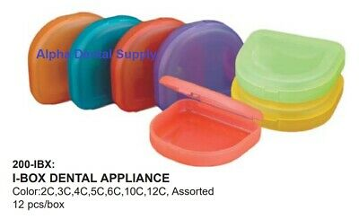 Plasdent I-Box Dental Orthodontic Appliance Boxes Tropical Colors Assorted Bx/12