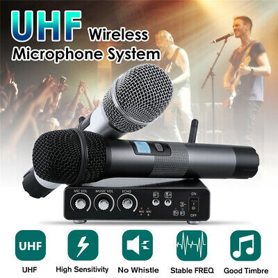 UHF Professional 25 Channel Wireless 2 Cordless Handheld Microphone System Mic