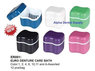 Plasdent Euro Dental Denture Care Bath Boxes Assorted Colors Box/12 #ER001-A