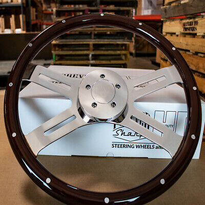 "4 Spoke Steering Wheel 18"" Dark Wood with Rivets Kenworth Peterbilt Hub Included"