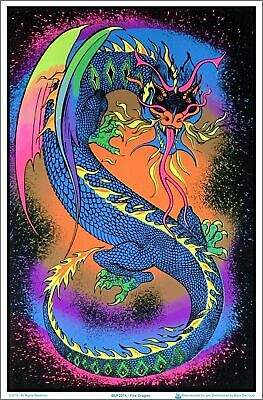 Fire Breathing Dragon - Blacklight Flocked Poster 23-by-35 Inches