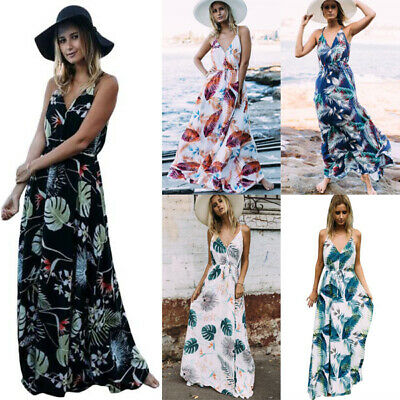 Women Summer Print Floral V-Neck Beach Boho Long Maxi  Dress Sleeveless Sundress