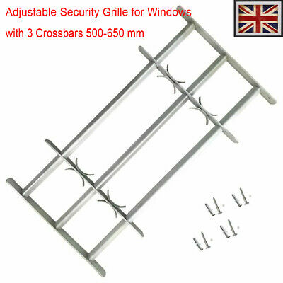 Adjustable Security Grille for Windows with 3 Crossbars 500-650mm Safe Steel