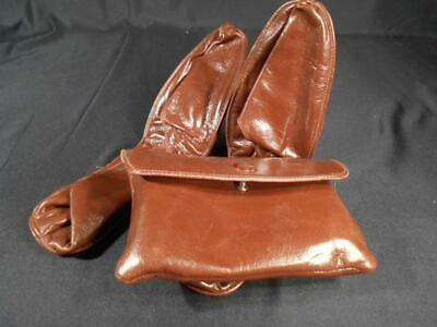 """Pr Vintage Folding Leather Slippers In Snap Traveling Case By Cross 10"""" Unisex"""
