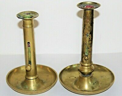 Authentic Antique 18th & 19th Century Brass Sliding Side Push Up Candlesticks