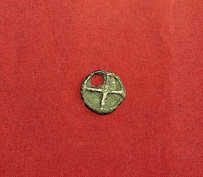 Rare Ancient Celtic Bronze Wheel Shape Amulet
