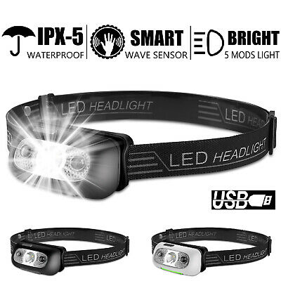USB Rechargeable LED Headlamp Headlight Head Band Lamp Torch Flashlight Camping