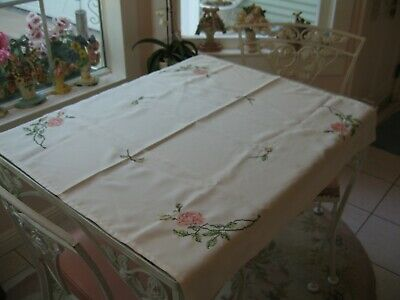 Beautiful White Cross Stitch Embroidered Tablecloth Cover With Pink Roses Floral