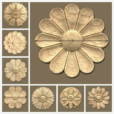 1X Wood Carved Applique Unpainted Wooden Mouldings Decal Furniture Decor Retro