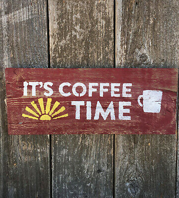 Coffee Cup Country Kitchen Cafe Farmhouse Rustic Wall Art Decor Wood Sign 4x12 Home Decor Home Garden