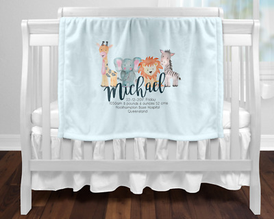 Personalised Baby Blanket Newborn Gift  Keepsake Blue Safari Animals Birth Stats