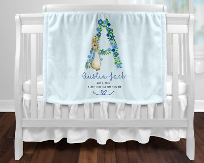 Personalised Baby Blanket Newborn Gift  Keepsake Blue Peter Rabbit Birth Stats