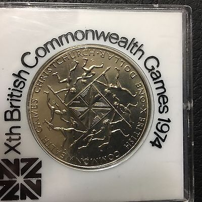 1974 New Zealand British Commonwealth Games One Dollar Coin UNC  (3232102/C7)