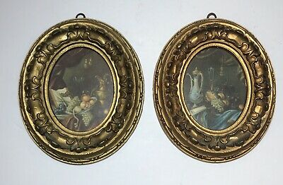 2 Vintage FLORENTINE OVAL SHAPE PICTURES Ornate Wall Hangings ITALY ~ Fruit