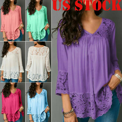 Plus Size Womens Boho Floral Long Sleeve Blouse Baggy Tops Tunic V Neck T Shirts