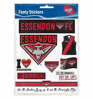 Essendon Bombers Official AFL Logo Sticker Sheet Free Postage