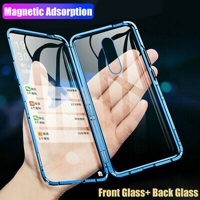 360° Full Magnetic Metal Frame Front + Back Tempered Glass Slim Phone Case Cover