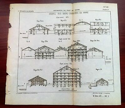 1898 French Map Diagram Cross Section of Docks Entry from Harbor Vauban Sheds