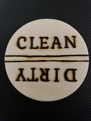 """Clean/Dirty Dishwasher Magnet. 2.5""""  Wood."""
