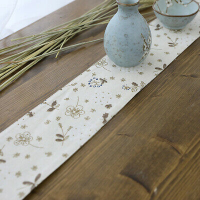 Wedding Decor Linen Table Runner Floral Flower Pattern Decoration for Home Party