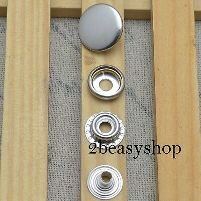 15 Sets Silver Snap Fasteners Press Studs Leather Craft 12.5/15/17mm Buttons AU