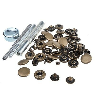 15mm 15 Sets Antique Brass Press Studs Kit Snap Fasteners Sewing Leather Buttons