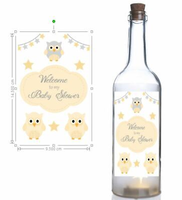 Personalised wine bottle sticker, Welcome to my Baby Shower, Owl Themed Sticker