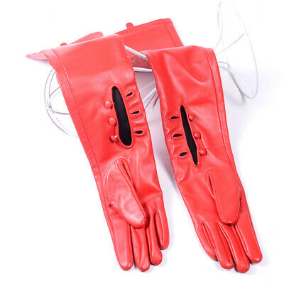 50cm Women's Ladies Real leather Three Buttons Wrist  Party Evening long gloves