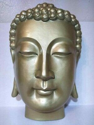 "New Gold Finish Large 12"" Inch Asian Female Budai Buddha Head Wall Statue Nwot"