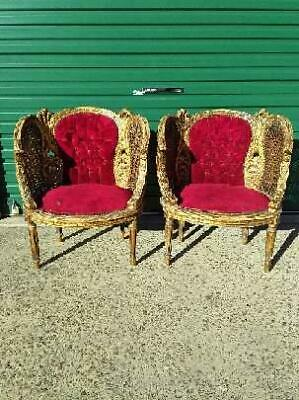 Antique French Rococo Double Rattan & Timber Armchair In The Style Of Louis Xv.