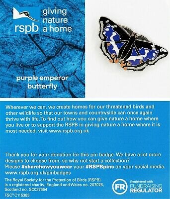 RSPB Pin Badge | purple emperor butterfly GNAH BLUE (01537)