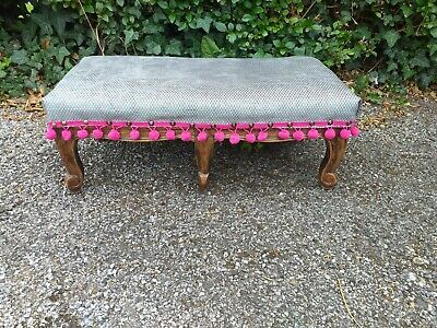 Antique Victorian Foot Stool, Nice carved legs-reupholstered