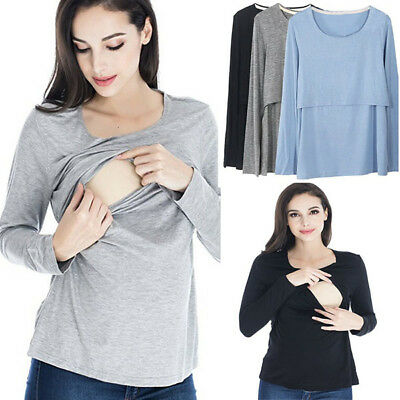 UK Pregnant Women Long Sleeve Maternity Breastfeeding Tops Nursing Tee T-shirt