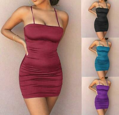 Sexy Women's Slim Camisoles Wrinkle Summer Party Evening Wrap Mini Short Dress