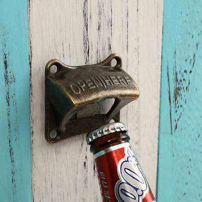 Wall Mounted Vintage Cast Iron Beer Bottle Opener Antique Old Style 0802