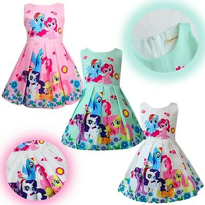 Kids Girls Cute Cartoon Little Pony Design Skater Party Casual Fashion Dresses