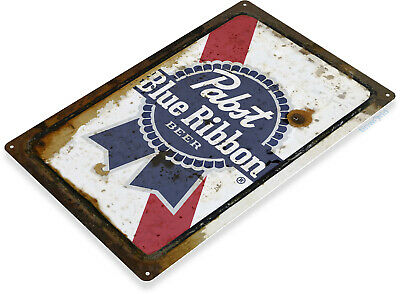 Pabst Beer PBR Logo Retro Vintage Rustic Bar Man Cave Wall Decor Metal Tin Sign