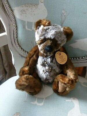 """Charlie Bears Ludo, 2009. 11 """" beautiful bear in ex Cond, with tags & bells on"""