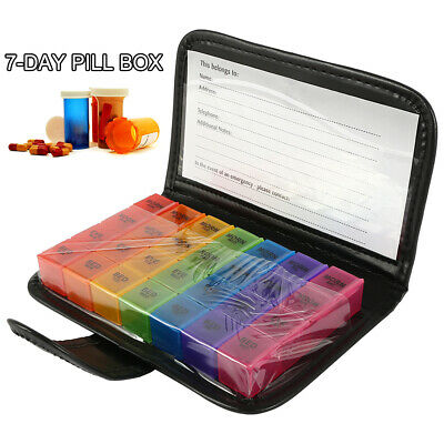 7 Day Weekly & Daily Jumbo Large Pill Box with 28 Compartments AM PM