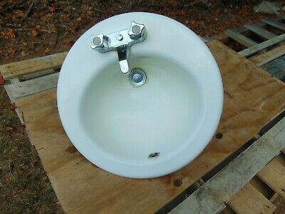 Vintage/Antique 1973 Kohler 19 Inch Round Cast Iron/Porcelain Bathroom Sink