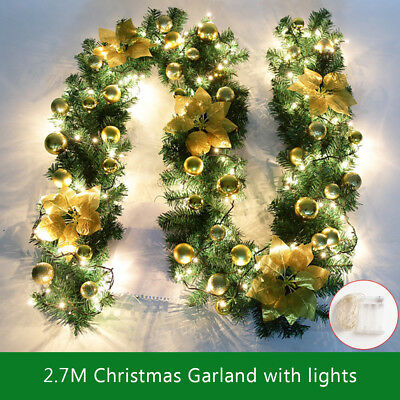 9Ft Artificial Christmas Garland Pre Lit Fireplace Pine Light Decorations 2.0